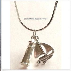 "Silver Lighthouse Sailboat Necklace 18"" Nautical"